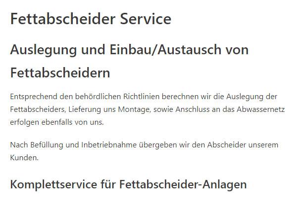 Fettabscheinder Service